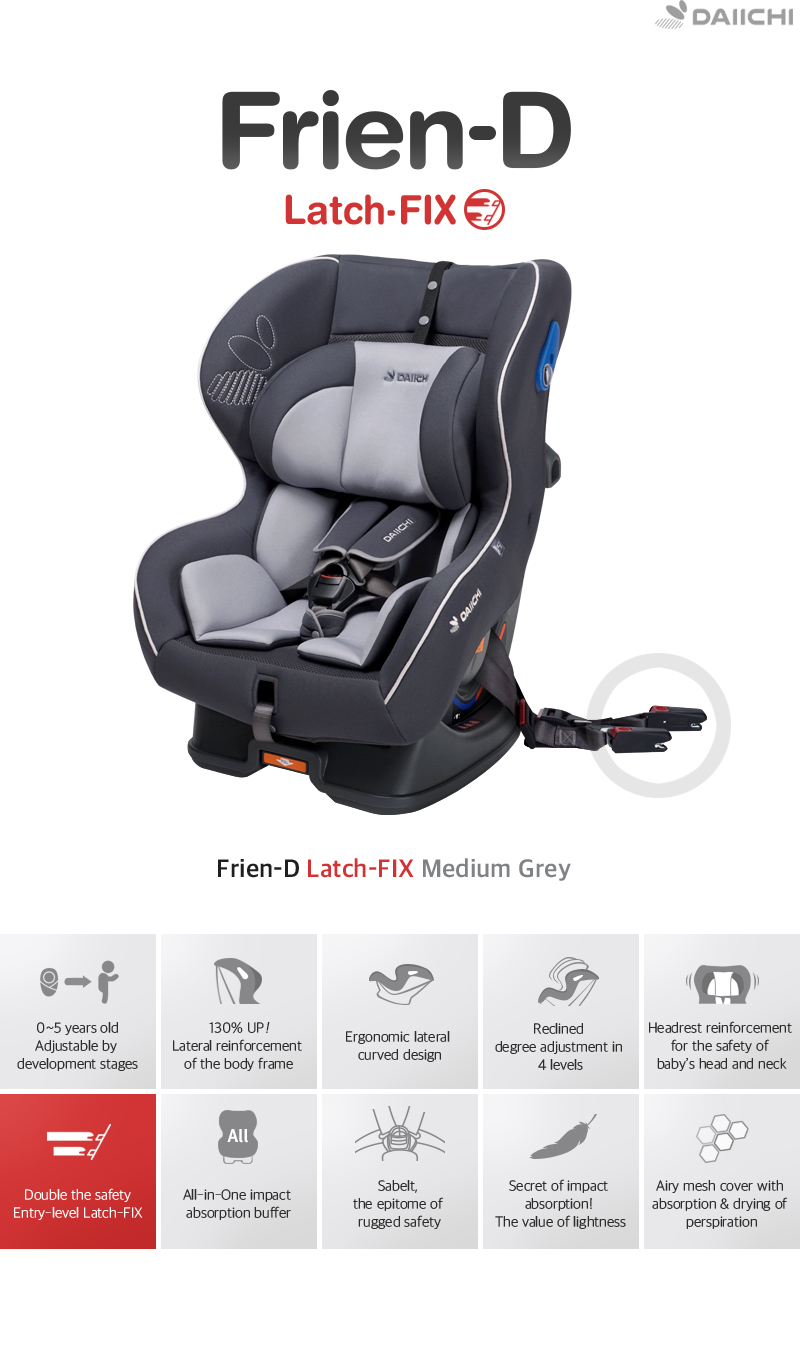Adjustable by development stages, Lateral reinforcement of the body frame, Ergonomic lateral curved design, Reclined degree adjustment in 4 levels, Headrest reinforcement for the safety of baby's head and neck, All-in-One impact absorption buffer, Airy mesh cover with absorption & drying of perspiration