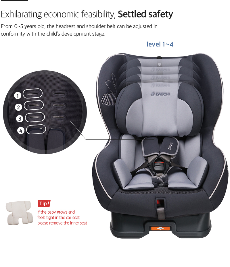 From 0~5 years old, the headrest and shoulder belt can be adjusted in conformity with the child's development stage.