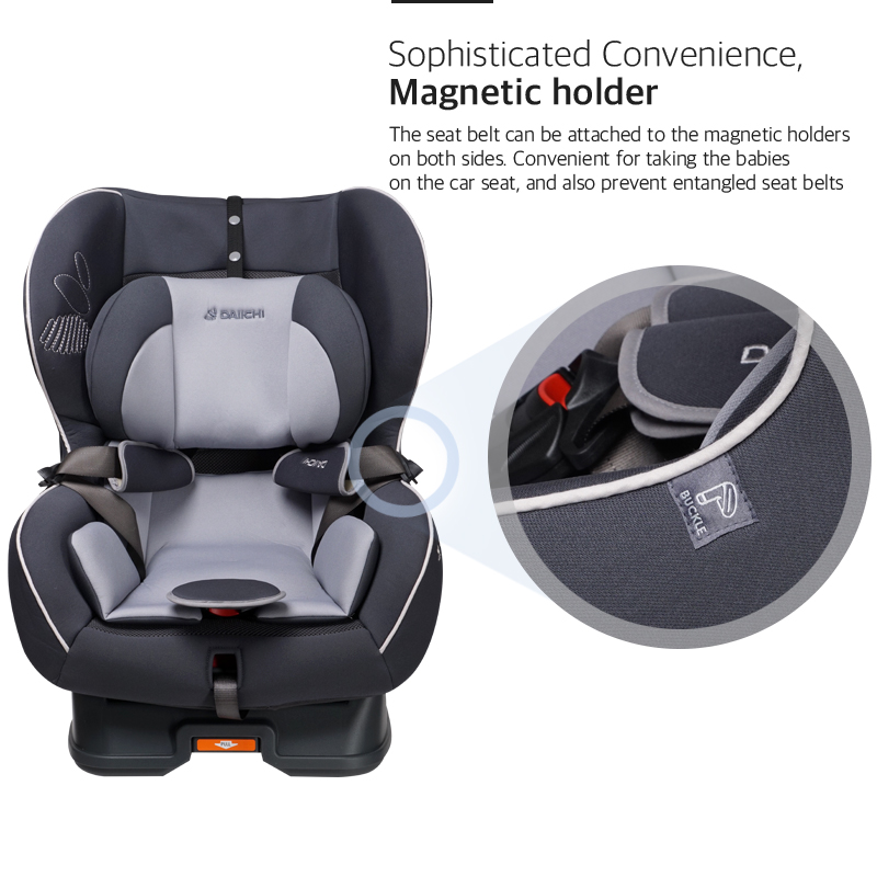 The seat belt can be attached to the magnetic holders on both sides. Convenient for taking the babies on the car seat, and also prevent entangled seat belts.