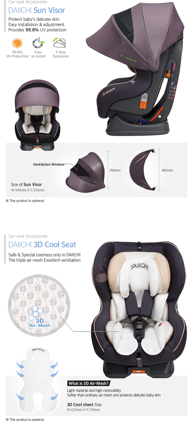 Protect baby's delicate skin, Easy installation & adjustment. Provides 99.8% UV protectionSafe & Special coolness only in DAIICHI,The triple air mesh Excellent ventilation