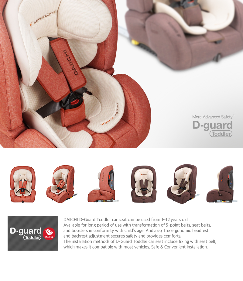 DAIICHI D-Guard Toddler car seat can be used from 1~12 years old. Available for long period of use with transformation of 5-point belts, seat belts, and boosters in conformity with child's age. And also, the ergonomic headrest and backrest adjustment secures safety and provides comforts.