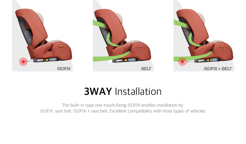 The built-in type one-touch fixing ISOFIX enables installation by ISOFIX, seat belt, ISOFIX + seat belt. Excellent compatibility with most types of vehicles.