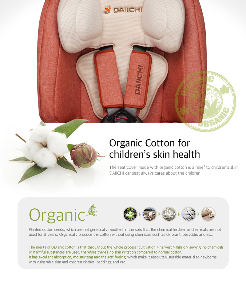 The seat cover made with organic cotton is a relief to children's skin. Organically produce the cotton without using chemicals such as defoliant, pesticide, and etc.