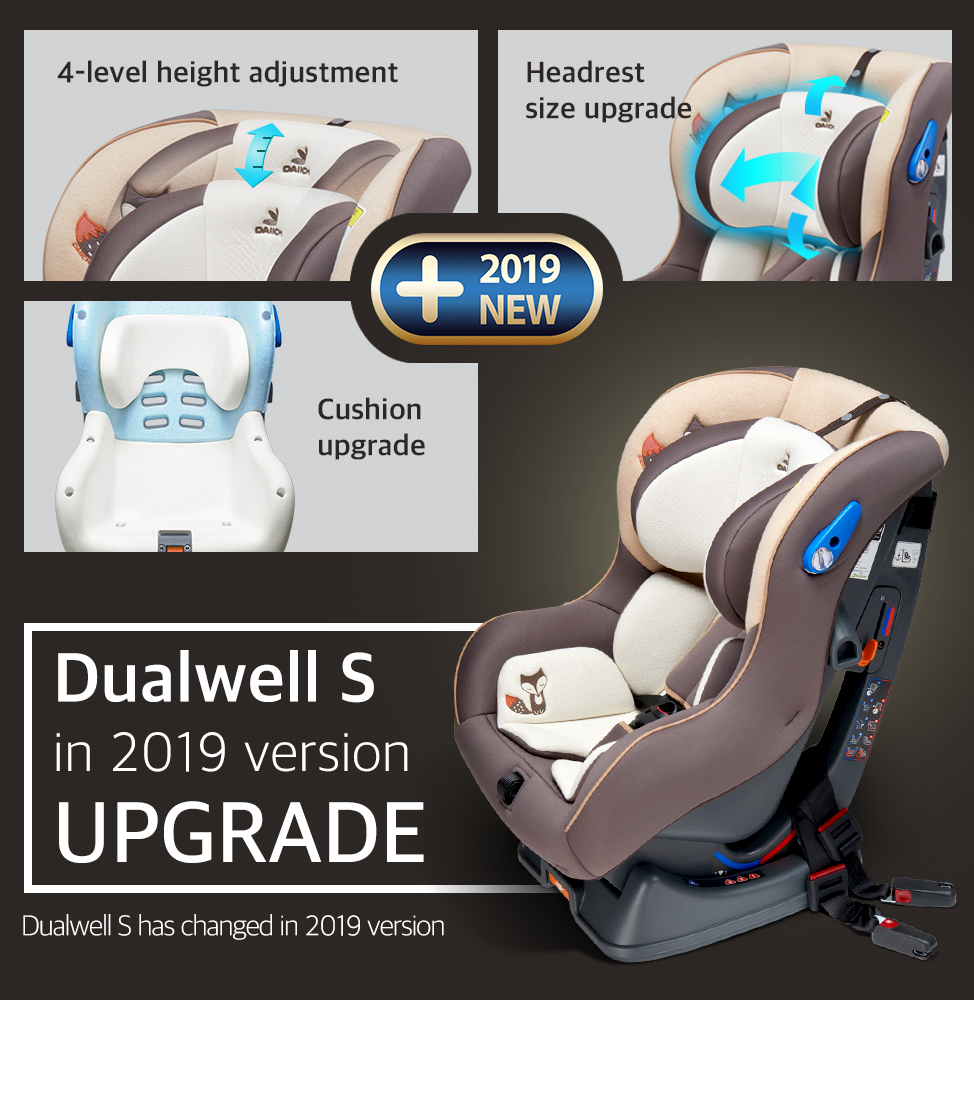 4-level height adjustment, Headrest size upgrade, Cushion upgrade, DAIICHI Dualwell S carseat in 2019 version UPGRADE