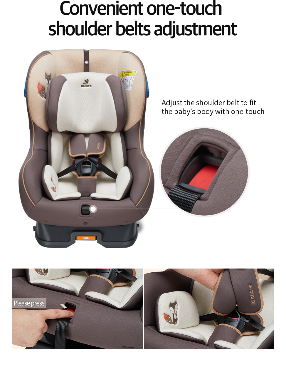 Adjust the shoulder belt to fit the baby's body with one-touch