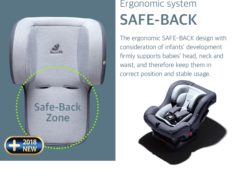 The ergonomic SAFE-BACK design with consideration of infants' development firmly supports babies' head, neck and waist, and therefore keep them in correct position and stable usage.