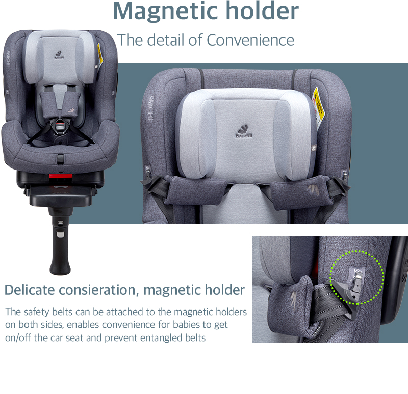 The safety belts can be attached to the magnetic holders on both sides, enables convenience for babies to get on/off the car seat and prevent entangled belts