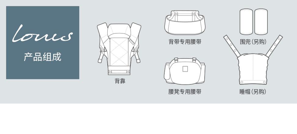 产品组成: 背靠,婴儿背带用腰带,腰凳用腰带,围兜,睡帽