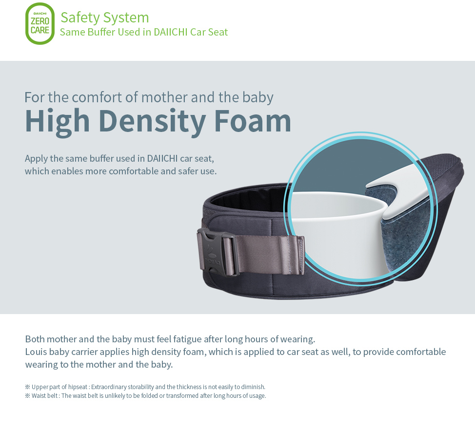 High Density Foam. Apply the same buffer used in DAIICHI car seat, which enables more comfortable and safer use.