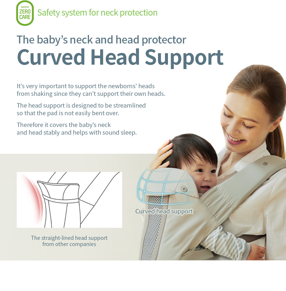 The baby's neck and head protector, Curved head support. The head support is designed to be streamlined so that the pad is not easily bent over. Therefore it covers the baby's neck and head stably and helps with sound sleep.