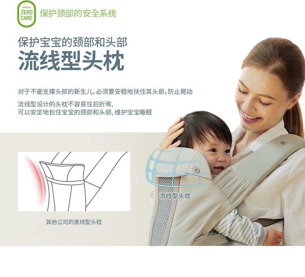 对于不能支撑头部的新生儿,必须要安全地支撑头部,防止晃动. 流线型设计的头枕不容易往后折弯,可以安定地包住宝宝的颈部和头部,维护宝宝睡眠.