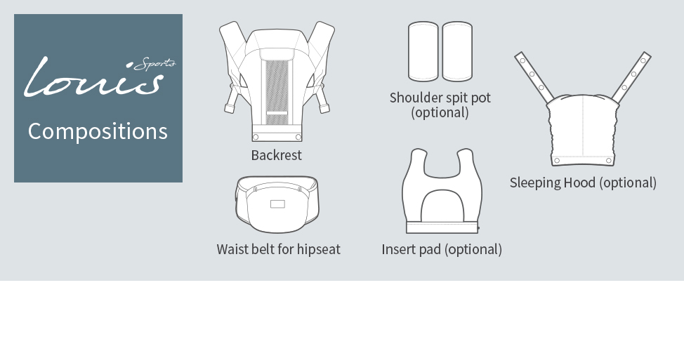 Compositions: Backrest, Waist belt for baby carrier optional: Shoulder spit pot, Sleeping Hood, Insert pad