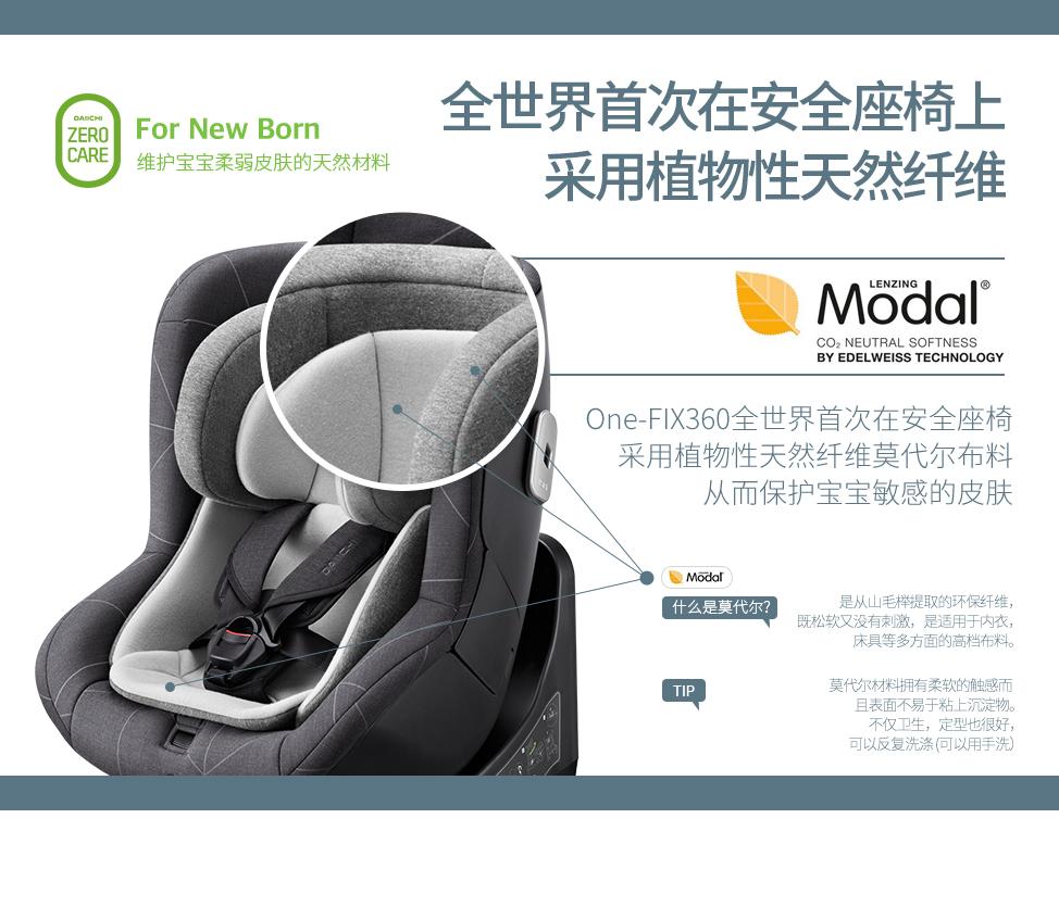 One-FIX360全世界首次在安全座椅上采用植物性天然纤维莫代尔布料,从而保护宝宝敏感的皮肤