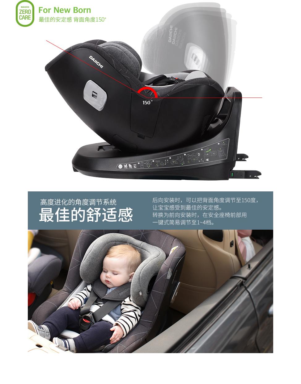 后向安装时,可以把背面角度调节至150度,让宝宝感受到最佳的安定感. 转换为前向安装时,在安全座椅前部用一键式简易调节至1~4档