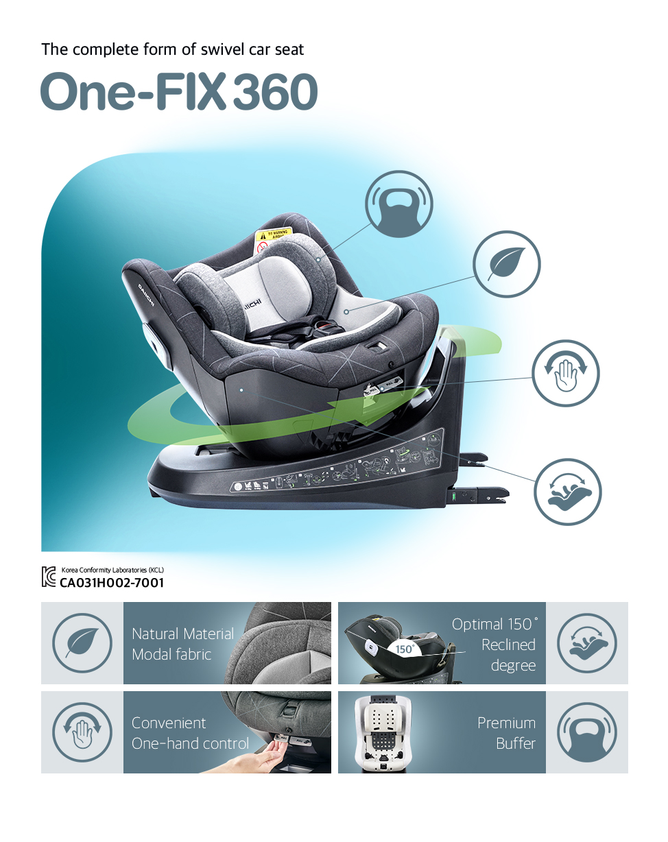 The complete form of swivel car seat. DAIICHI One-FIX360