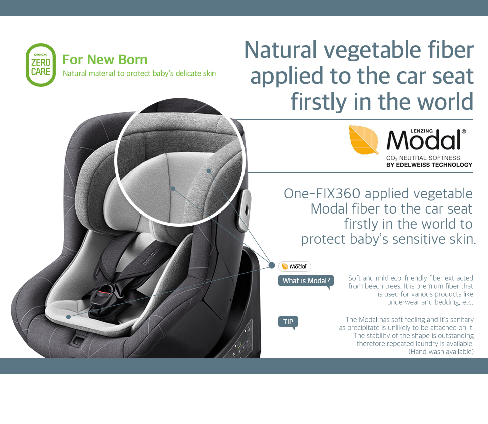 One-FIX360 applied vegetable Modal fiber to the car seat firstly in the world to protect baby's sensitive skin.