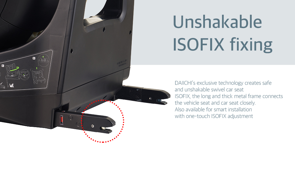 DAIICHI's exclusive technology creates safe and unshakable swivel car seat. ISOFIX, the long and thick metal frame connects the vehicle seat and car seat closely. Also available for smart installation with one-touch ISOFIX adjustment.