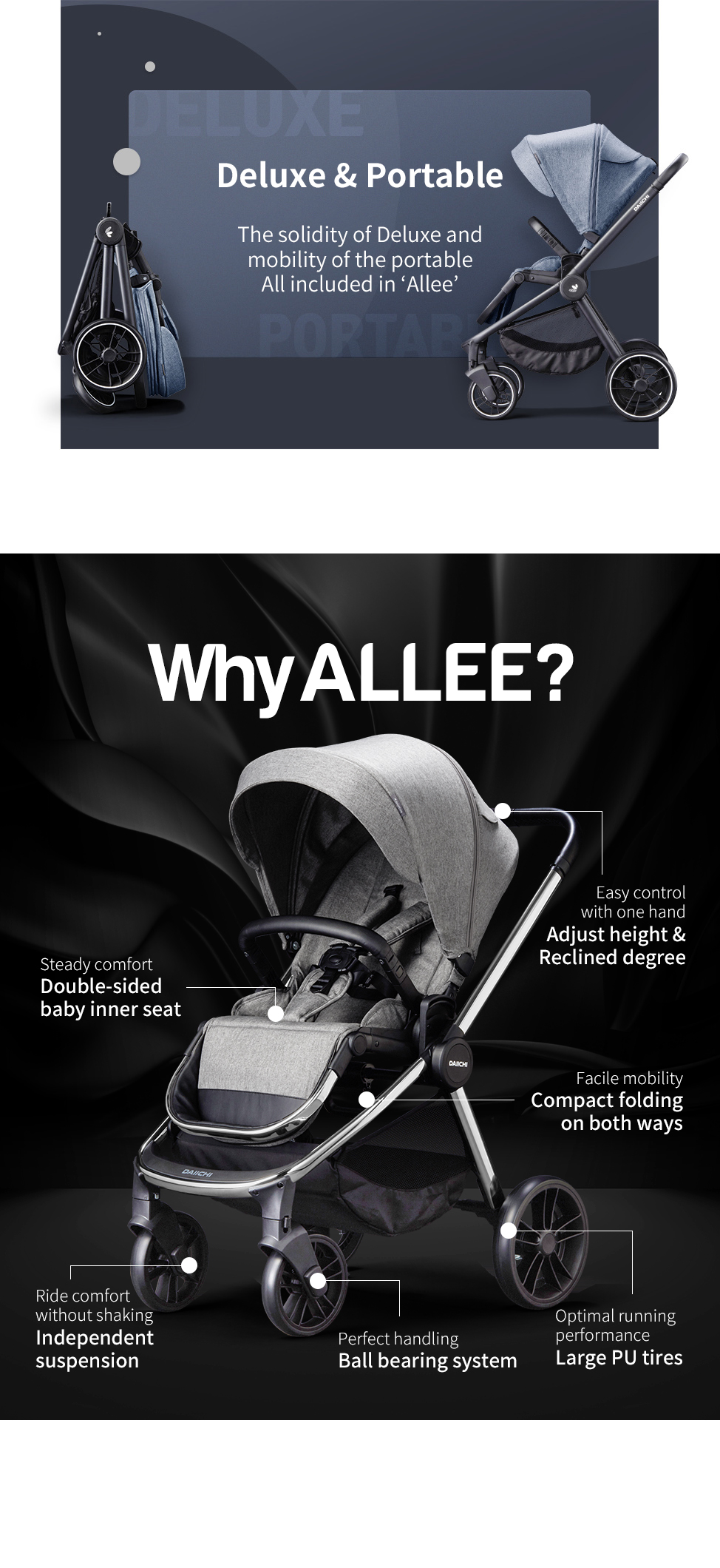 The solidity of Deluxe and mobility of the portable All included in 'Allee'