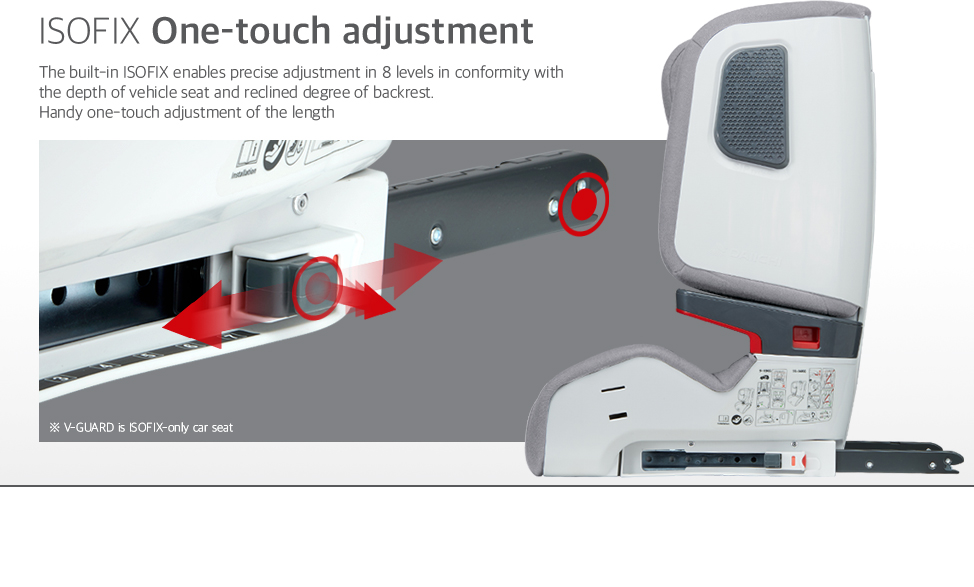 The built-in ISOFIX enables precise adjustment in 8 levels in conformity with the depth of vehicle seat and reclined degree of backrest. Handy one-touch adjustment of the length