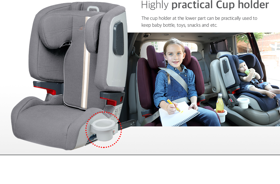 The cup holder at the lower part can be practically used to keep baby bottle, toys, snacks and etc.