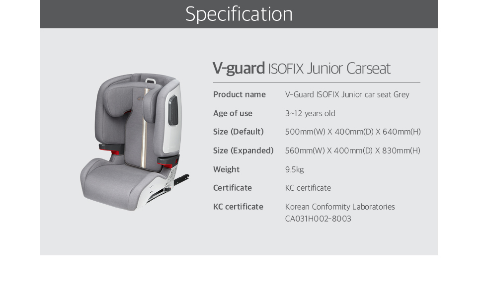 V-Guard ISOFIX Junior car seat
