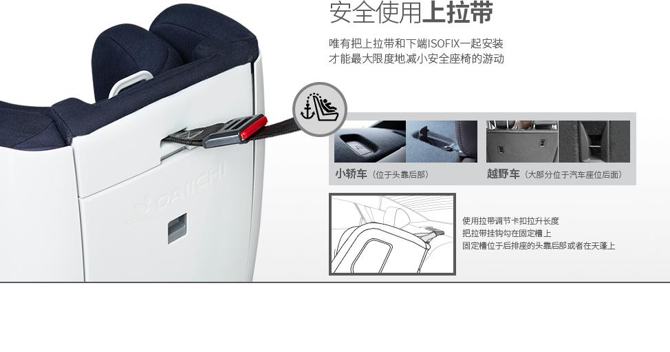 唯有把上拉带和下端ISOFIX一起安装才能最大限度地减小安全座椅的游动