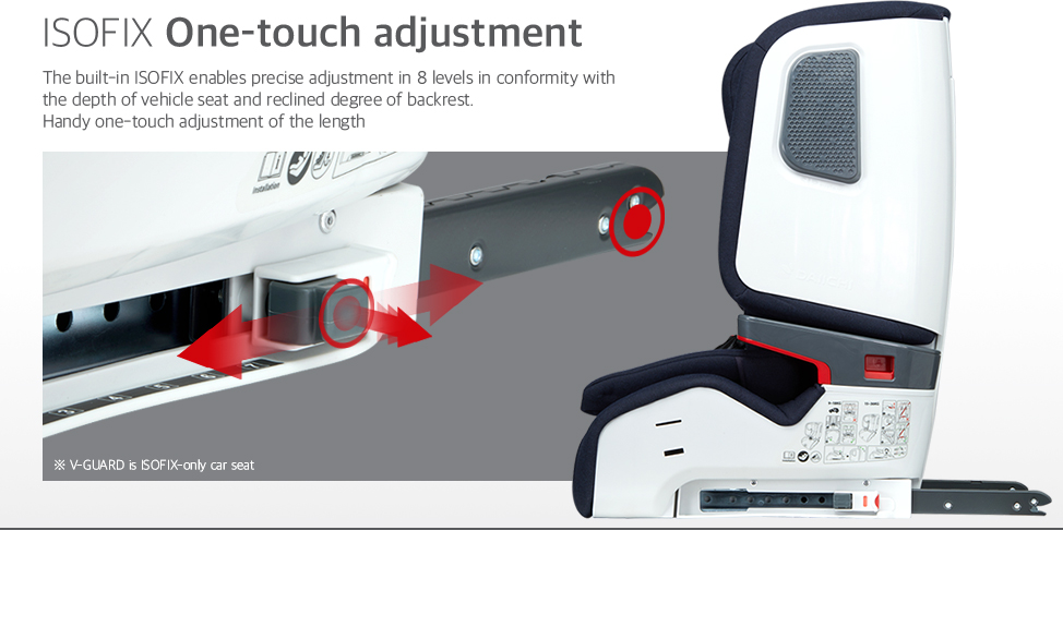 The built-in ISOFIX enables precise adjustment in 8 levels in conformity with the depth of vehicle seat and reclined degree of backrest. Handy one-touch adjustment of the length.