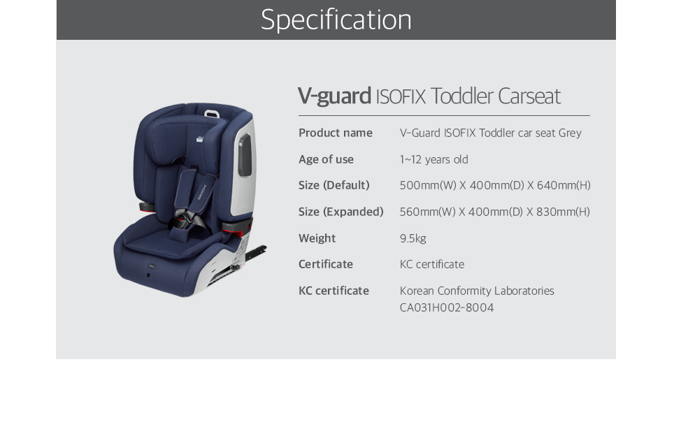 V-Guard ISOFIX Toddler car seat